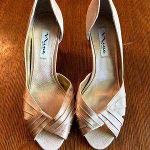 Nina New York Champagne Peeptoe Heels 7.5